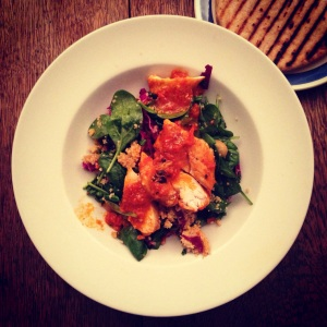 Harissa chicken salad with sourdough flatbread