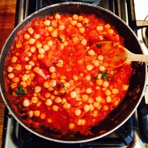Chickpeas in the pan...