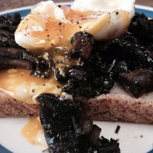 Chimichurri mushrooms & poached egg on toast...
