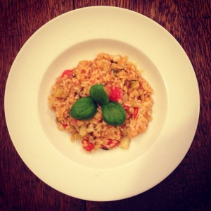 Hearty and nutrient rich tomato & basil risotto