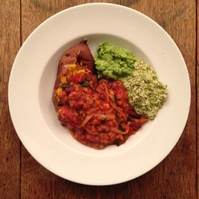 Spinach & Red Lentil Chilli, Guac & Coriander Cashew Cream with Baked Sweet Potato